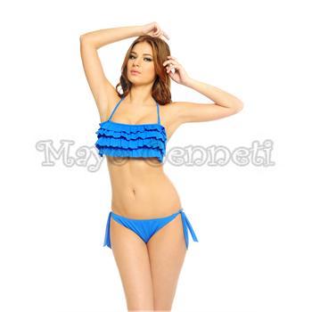 Argento fırfırlı straplez bikini - sarı