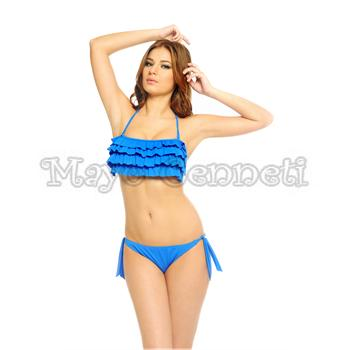 Argento straplez fırfırlı bikini - sarı
