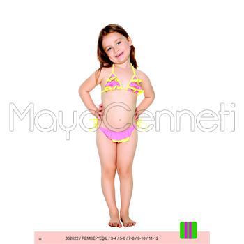 Sunset fırfırlı küçük üçgen pullu kız çocuk bikini - pembe