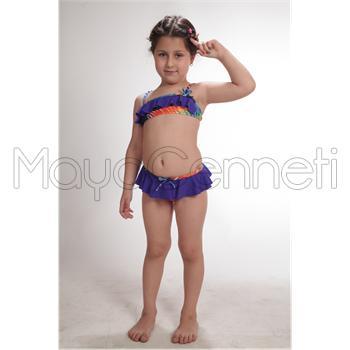 Dagi fırfırlı straplez kız çocuk bikini - mor