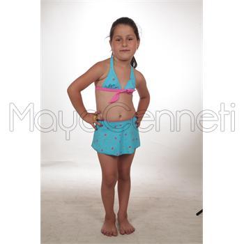 Sunsurf etekli geniş üçgen kız çocuk bikini - mavi
