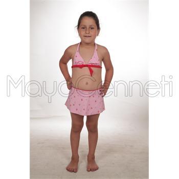 Sunsurf etekli geniş üçgen kız çocuk bikini - pembe