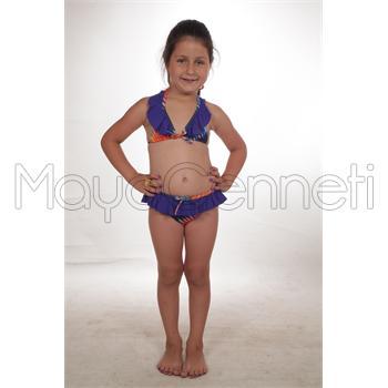 Dagi küçük üçgen fırfırlı kız çocuk bikini - mor