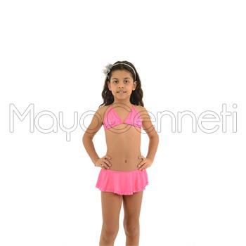 Azra küçük üçgen fırfırlı etekli kız çocuk bikini - fuşya