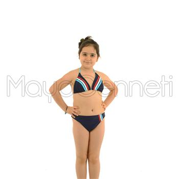 Azra küçük üçgen kız çocuk bikini - lacivert