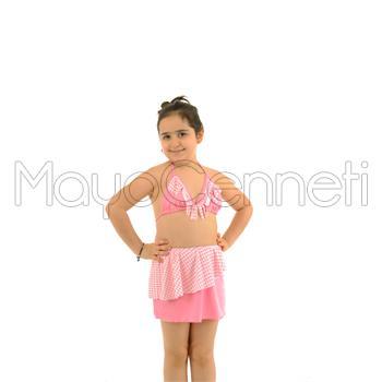 Azra etekli küçük üçgen kız çocuk bikini - pembe