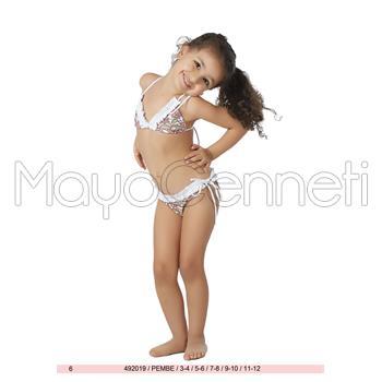 Sunset fırfırlı küçük üçgen kız çocuk bikini - pembe