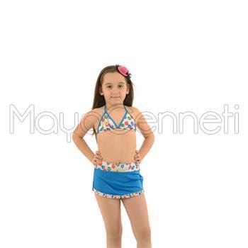 2014 AZRA Küçük Üçgen Fırfırlı Etekli Kız Çocuk Bikini