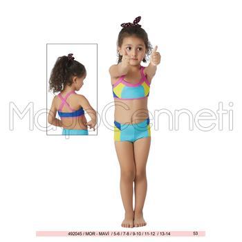 Sunset şortlu yüzücü kız çocuk bikini - mavi