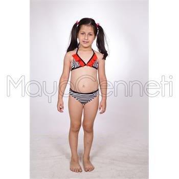 Dagi fırfırlı kız çocuk bikini - siyah