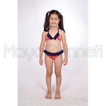 Dagi küçük üçgen fırfırlı kız çocuk bikini - kırmızı