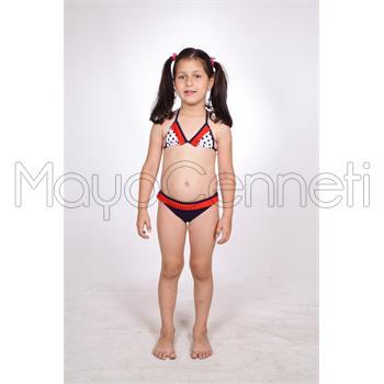Dagi küçük üçgen fırfırlı kız çocuk bikini - lacivert