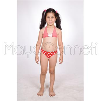 Dagi geniş üçgen kız çocuk bikini - kırmızı