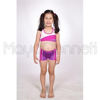 Dagi şortlu yüzücü kız çocuk bikini - lacivert