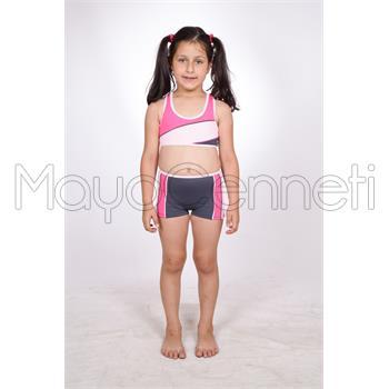 Dagi şortlu yüzücü kız çocuk bikini - pembe
