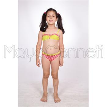 Dagi fırfırlı straplez kız çocuk bikini - pembe