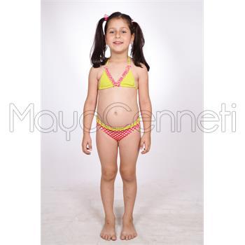 Dagi küçük üçgen fırfırlı kız çocuk bikini - pembe