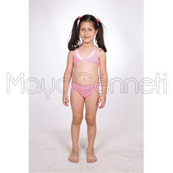 Dagi fırfırlı kız çocuk bikini - pembe