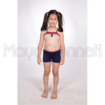 Dagi fırfırlı straplez şortlu kız çocuk bikini - lacivert