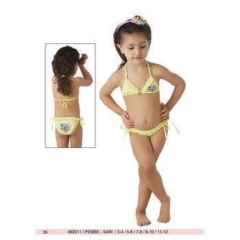 Sunset küçük üçgen fırfırlı kız çocuk bikini - sarı