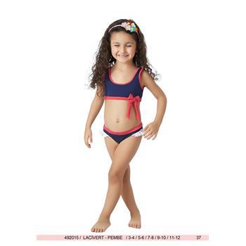 Sunset yüzücü fırfırlı kız çocuk bikini - lacivert