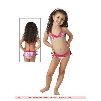 Sunset küçük üçgen fırfırlı kız çocuk bikini - fuşya