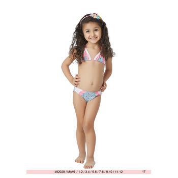 Sunset küçük üçgen kız çocuk bikini - buz mavi