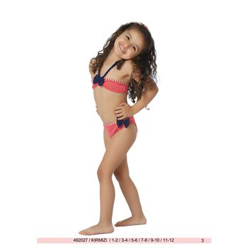 Sunset straplez kız çocuk bikini - kırmızı