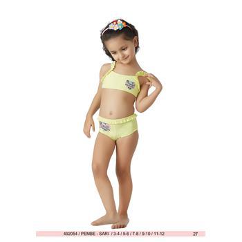 Sunset yüzücü fırfırlı şortlu kız çocuk bikini - sarı