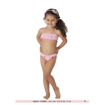 Sunset fırfırlı straplez kız çocuk bikini - pembe