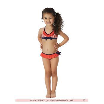 Sunset geniş üçgen fırfırlı kız çocuk bikini - kırmızı