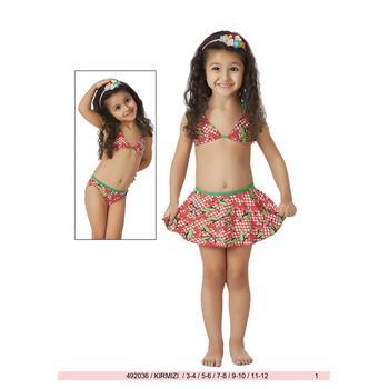 Sunset etekli küçük üçgen kız çocuk bikini - kırmızı