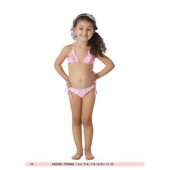 Sunset küçük üçgen kız çocuk bikini - pembe