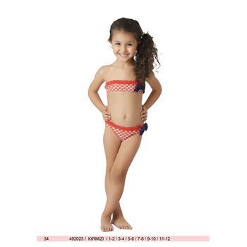Sunset fırfırlı kız çocuk bikini - kırmızı