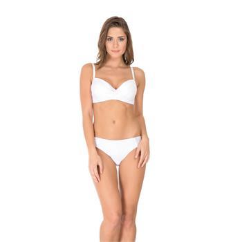 Dagi sabit silikonlu balenli tüllü bikini - beyaz