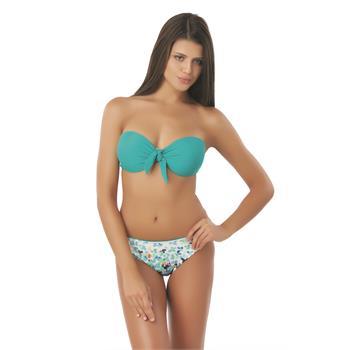 Sunset sabit silikonlu straplez bikini - yeşil