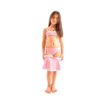 Dagi etekli fırfırlı straplez kız çocuk bikini - pembe