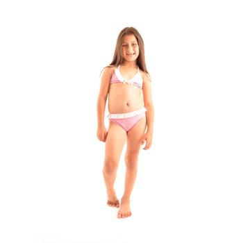 Dagi fırfırlı küçük üçgen kız çocuk bikini - pembe