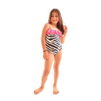 Dagi fırfırlı kız çocuk mayo - fuşya