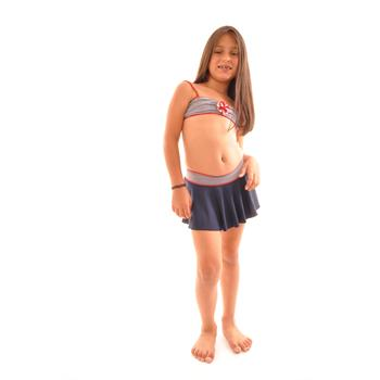 Dagi etekli straplez kız çocuk bikini - lacivert