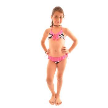 Dagi küçük üçgen fırfırlı kız çocuk bikini - fuşya