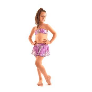 Reyna etekli straplez kız çocuk bikini - mor