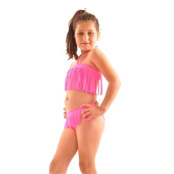 Reyna straplez kız çocuk bikini - fosforlu pembe
