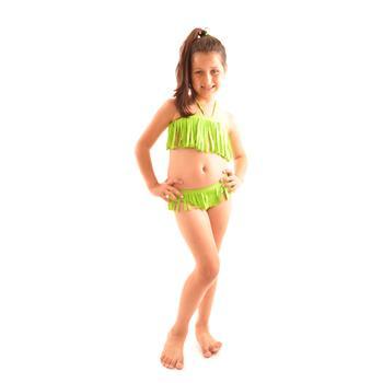 Reyna straplez kız çocuk bikini - yeşil