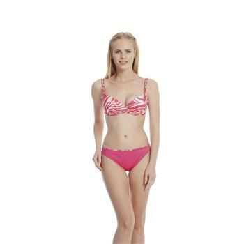Dagi sabit silikonlu balenli bikini - pembe