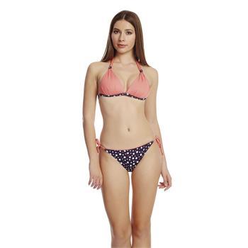 Dagi sabit silikonlu kaplı üçgen bikini - pudra [somon]
