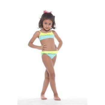 Sunset fırfırlı kız çocuk bikini - mavi