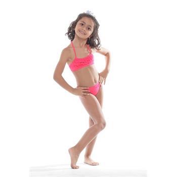 Sunset fırfırlı kız çocuk bikini - mercan
