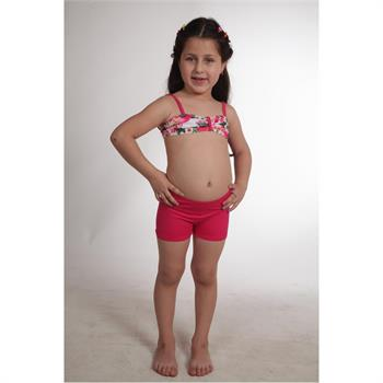 Dagi straplez şortlu kız çocuk bikini - fuşya