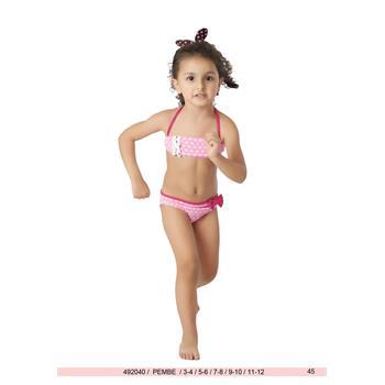 Sunset straplez fırfırlı kız çocuk bikini - pembe